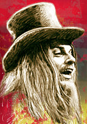 Musician Mixed Media Prints - Leon Russell - stylised drawing art poster Print by Kim Wang