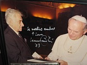 Bernstein Posters - Leonard Bernstein and Pope John Paul II Poster by Jose Galindo