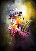 Folk Digital Art Framed Prints - Leonard Cohen 02 Framed Print by Miki De Goodaboom