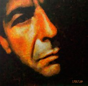 Songwriter Mixed Media Metal Prints - Leonard Cohen Metal Print by Dragica  Micki Fortuna