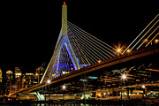 Boston Ma Digital Art Posters - Leonard P. Zakim Bunker Hill Memorial Bridge Poster by John Hoey