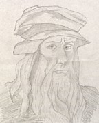 Vintage Painter Drawings Prints - Leonardo Da Vinci Print by Manasa Patapatnam