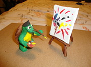 Turtle Sculpture Posters - Leonardo The Mutant Painting Turtle Poster by Scott Faucett