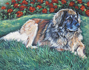 Red Geraniums Painting Posters - Leonberger Poster by Lee Ann Shepard