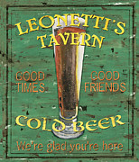 Yellow Brown Posters - Leonettis Tavern Poster by Debbie DeWitt