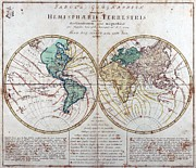 Cartography Mixed Media Prints - Leonhard Euler World Map 1760 AD Print by L Brown