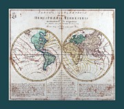 North African Mixed Media Posters - Leonhard Euler World Map 1760 AD with matching grey aqua small border Poster by L Brown