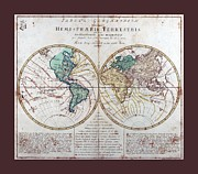 Cartography Mixed Media Prints - Leonhard Euler World Map 1760 AD with matching grey burgundy small border Print by L Brown