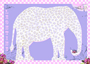 Hippie Posters - Leontine the Spotted Elephant Poster by Anahi DeCanio
