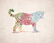 Animal Drawings Posters - Leopard Drawing - Colorful Design Poster by World Art Prints And Designs