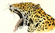 Nature Study Painting Framed Prints - Leopard head Framed Print by Juan  Bosco