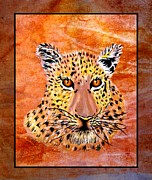 Portrait Tapestries - Textiles Posters - Leopard Late Afternoon Poster by Sylvie Heasman