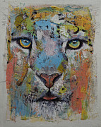 African Art Portrait Paintings - Leopard by Michael Creese