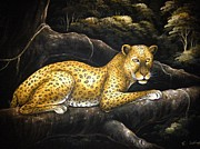Leopard Tapestries - Textiles - Leopard on branch by Community in Sri Lanka