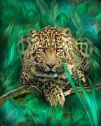 Leopard Mixed Media Posters - Leopard - Spirit Of Empowerment Poster by Carol Cavalaris