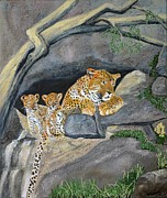 Leopards Paintings - Leopards at Maasai Mara by Larry Niemeyer