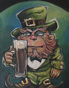 Leprechaun Paintings - Leprechaun About To Enjoy An Irish Stout by Tim Nyberg