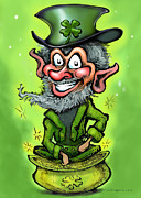 St. Patrick Paintings - Leprechaun on Pot of Gold by Kevin Middleton