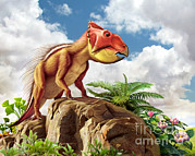 Alertness Digital Art - Leptoceratops And His Favorite Plants by Mohamad Haghani