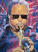 Saxaphone Player Drawings Posters - Leroi Moore and 2007 Lights Poster by Joshua Morton