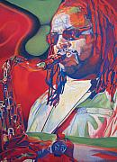 Saxaphone Player Drawings Posters - Leroi Moore Colorful Full Band Series Poster by Joshua Morton