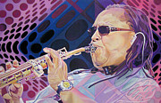 Saxaphone Player Drawings Posters - Leroi Moore Poster by Joshua Morton