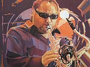 Saxaphone Player Drawings Posters - Leroi Moore purple and Orange Poster by Joshua Morton