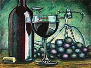 Glass Table Reflection Painting Metal Prints - Leroica Still Life Metal Print by Mark Howard Jones