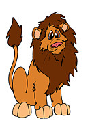 Cartoon  Lion Digital Art - Leroy the Lion  by Rachel Counts