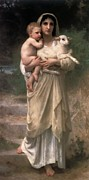 Madonna Digital Art - Les Agneaux by William Bouguereau
