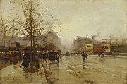 Horse Drawn Posters - Les Boulevards Paris Poster by Eugene Galien-Laloue