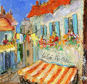 Provence Village Prints - Les Cafe des Artistes Print by Sharon Furner