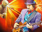 Bass Painting Prints - Les Claypools-Sonic Boom Print by Joshua Morton