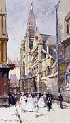 Religious Building Framed Prints - Les Communianates a Paris Framed Print by Eugene Galien-Laloue