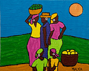 Haitian Paintings - Les Femmes III by Marlene MALKA Harris