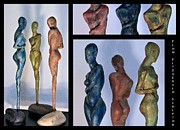 Nude Woman Greeting Card Sculpture Prints - Les filles de lAsse 1 Triptic collage Print by Flow Fitzgerald