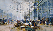 Walking Drawings Prints - Les Halles Paris Print by Jacques Lieven