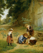 Frere Prints - Les Jeunes Jardiniers Print by Edouard Frere