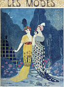 Fountain Framed Prints - Les Modes Framed Print by Georges Barbier