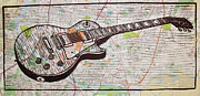 Lino Drawings Posters - Les Paul on Austin Map Poster by William Cauthern