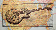Lino Drawings Posters - Les Paul on USA Map Poster by William Cauthern