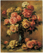 Impressionism Framed Prints - Les Roses dans un Vase Framed Print by Pierre-Auguste Renoir