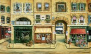 Wine Shop Prints - Les Rues de Paris Print by Marilyn Dunlap