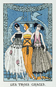 Dresses Framed Prints - Les Trois Graces Framed Print by Georges Barbier