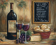 Red Wine Bottle Painting Posters - Les Vins Poster by Marilyn Dunlap