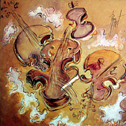 Violins Paintings - Les violons fous - Original sold by Bernard RENOT