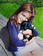 Puppy Mixed Media - Leslie and Sergeant by Constance Drescher