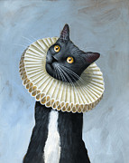 Humorous Cat Paintings - Less Is More ... Tuxedo Cat Art Painting by Amy Giacomelli