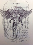 Drunk Drawings - Less than vitruvian captain america by Chris  Easley