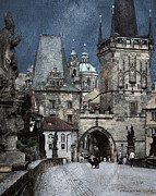Czech Republic Digital Art Prints - Lesser Town Bridge Towers Print by Pedro L Gili